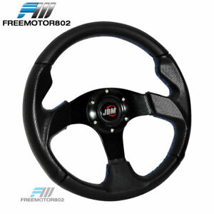 Universal 320mm Pvc Leather 6 Hole Jdm Logo Steering Wheel With Blue Stitch