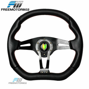 Universal 350mm Racing Steering Wheel Pvc Leather With Red Stitch
