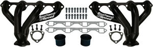 New Block Hugger Shorty Flat Black Headers Sbf Windsor 260 351 Gt40p V 8 Rat Rod