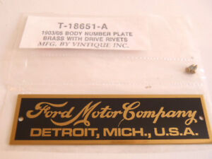Ford Model T Brass Body Id Plate 1903 1905
