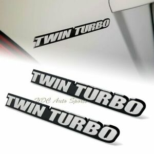 2 X Universal Silver Twin Turbo Aluminum Adhesive Sticker Decal Emblem Badge