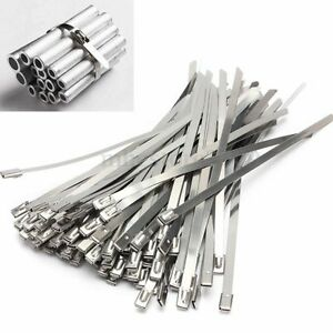 10 100pcs Strong Stainless Steel Grade Metal Self Locking Cable Ties Zip Wraps