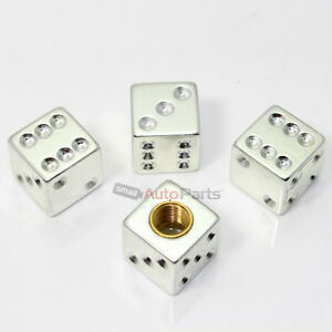4 Chrome Silver Dice Tire Wheel Stem Air Valve Caps Covers Car Truck Hot Rod Atv