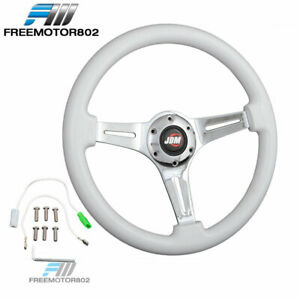 Universal 350mm Jdm White Classic Wood Chrome Polish Spokes Steering Wheel