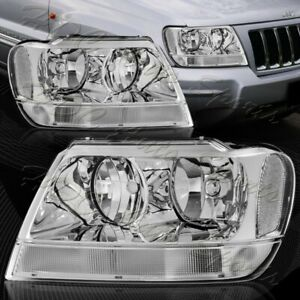 For 1999 2004 Jeep Grand Cherokee Chrome Housing Headlights W Clear Reflector