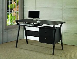 Casual Black Metal Glass Office Desk W two Storage Drawer