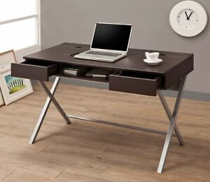 Contemporary Cappuccino Wood And Metal Connect it Computer Desk