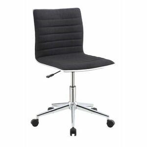 Chrome Black Fabric Metal Office Chair