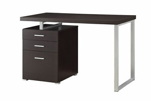 Hilliard Cappuccino Wood Metal Writing Desk