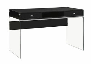 Contemporary Glossy Black Wood Glass Computer Desk