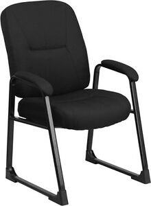Big Tall Black Fabric Executive Side Chair W sled Base