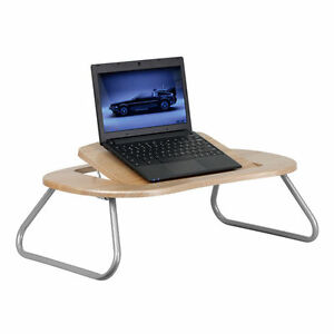 Angle Adjustable Laptop Computer Table W dark Natural Top