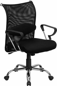 Mid back Manager s Chair W black Mesh Back Padded Mesh Seat
