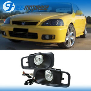 Fit 1999 2000 Honda Civic Ek Si Jdm Clear Lens Driving Fog Lights Kit Switch