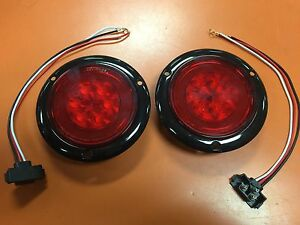 2 Red Led 4 Round Truck Trailer Brake Stop Turn Tail Lights With Red Lens