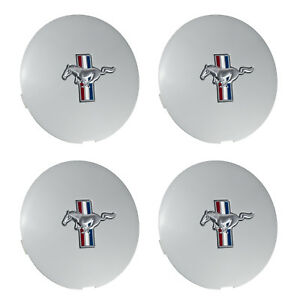 1991 1993 Mustang Pony Wheel 6 75 Silver Center Caps W Running Horse Set Of 4