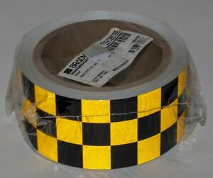 Brady Reflective Warning Tape Black yellow Checkerboard 2in X 30ft Roll 78137