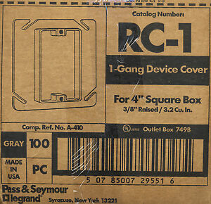 Pass Seymour Legrand Rc 1 Single Gang Device Cover For 4 Square Box 99 Case