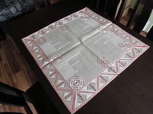 Stylish Vintage Hand Embroidered Linen Tablecloth With Silk Cotton Embroidery