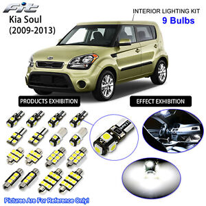 9 Bulb Led Interior Dome Light Kit 6000k Xenon White Lamp For Kia Soul 2009 2013