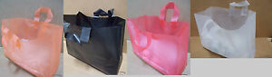250 Frosted Plastic Shopping Bags Grocery Merchandise Gift Party Tote Bulk Blank