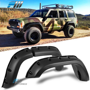 Fit 84 01 Jeep Cherokee Xj 4dr Pocket Rivet Style Abs Fender Flares Wheel Cover