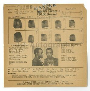 Wanted Notice Troy Lee Lock Escaped Convict Jefferson City MO 1946 $49.00