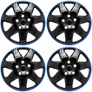 Set Of 4 Piece 15 Inch Ice Black Blue Trim Hub Caps Wheel Covers Cap Cover