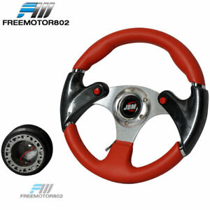 Fit Toyota Honda Acura 320mm Racing Steering Wheel Hub Pvc Leather Carbon Look