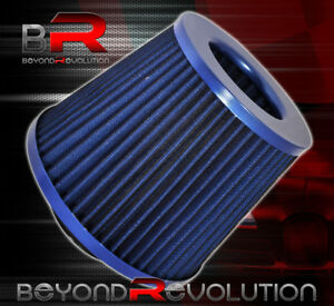 Blue Mesh 4 Flow Air Intake Dry Filter Cone Round Induction Turbo For Audi