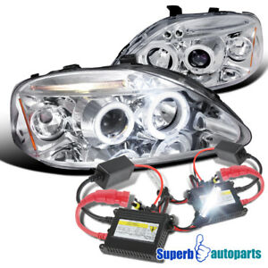 For 1999 2000 Honda Civic Led Halo Projector Headlights H1 Slim Hid Kit