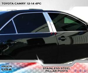 Stainless Steel Pillar Post Chrome Door Trim 4pc For Toyota Camry 2012 2014