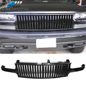 For 99 02 Chevy Silverado 00 06 Tahoe Suburan Black Front Hood Grill Grille Abs