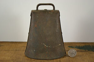 Antique Cow Bell Lg Cast Iron Forged Hammered Pinned Sides Clanger Farm Sargent