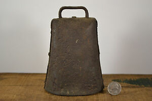 Antique Cow Bell Dairy Farm Lg Forged Hammered Pinned Sides Clanger 19th Century