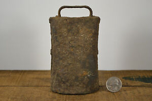 Old Patined Antique Med Cow Bell Dairy Farm Hand Hammered Pinned With Clanger