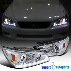 For 2001 2005 Lexus Is300 Chrome Projector Headlights W Led Signal Strip