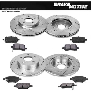 Front Rear Drill Slot Brake Rotors And Metallic Pads For G6 Malibu Cobalt
