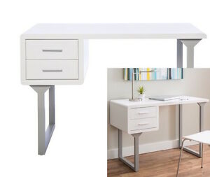 Contemporary White Writing Desk Computer Table Home Office Furniture New