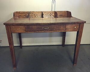 Antique Very Rare Solid Oak Sorting Table W Drawer Copper Screen Pa Farm Find