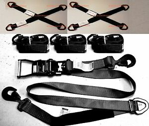 4 Axle Straps Car Hauler Trailer Auto Tie Down 4 Ratchet Straps Tow Kit 36dring