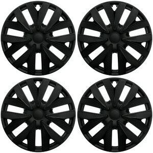 4 Pc New Universal Hubcaps Black Matte 15 Inch Wheel Cover Hub Caps Covers Cap