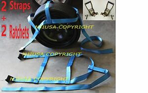 2 Basket Straps 2 Ratchets Adjustable Tow Dolly Demco Wheel Net Flat Hook Bl Y