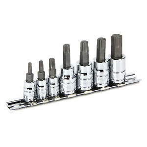 Powerbuilt 7 Pc Torx Bit Socket Set Star Bit 1 4 And 3 8 Drive 648414