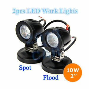 2x 10w Cree Led Work Lights Flood Spot Lamps Driving Fog Car Motorcycle Boat Atv