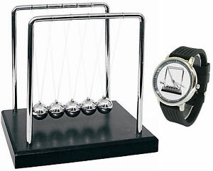 Newton s Cradle And Watch Bundle Desktop Decor And Accessory Pendulum Display