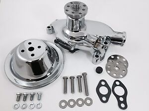 Sb Chevy Water Pump Short Sbc 350 V8 High Volume Chrome Pulley Kit 1 Groove