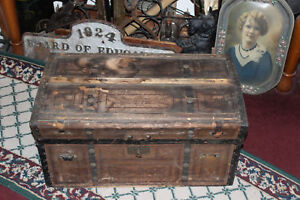 Antique Victorian Wood Trunk Chest Steamer Gothic Medieval Flat Top Wheels Lqqk