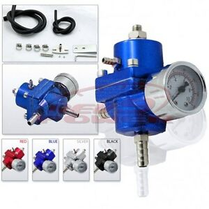Fuel Pressure Regulator With Gauge Blue