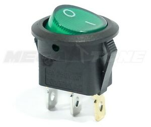 New Spst 3 Pin On off Round Rocker Switch W green Neon Lamp Usa Seller